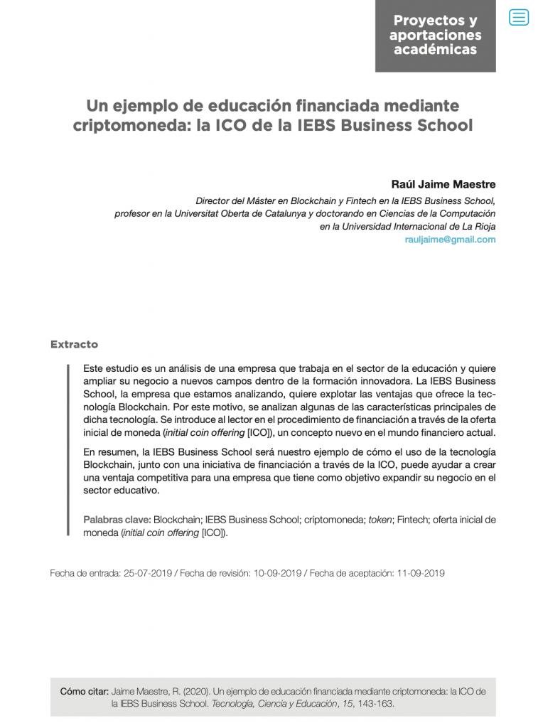 Un ejemplo de educación financiada mediante criptomoneda: la ICO de la IEBS Business School