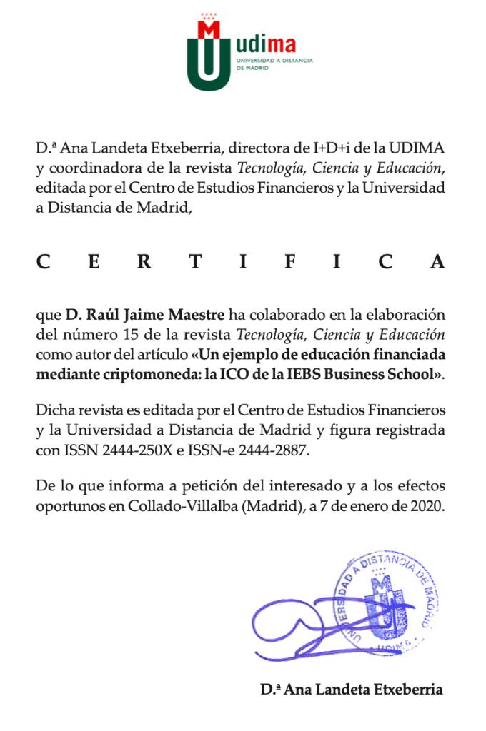 Certificado UDIMA articulo blockchain